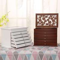 Multi Layer Big 6 Layers Wooden Jewelry Box Jewelry Display Casket Earrings Ring Boxes Jewelry Organizer Gift Box White/Brown