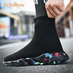 Image 1 - 2019 Hot sprzedaż mężczyźni High Top Mesh obuwie damskie oddychające skarpety buty wyjściowy modny kamuflaż dolny rozmiar butów 35 47