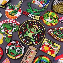 Eindhoven Oeteldonk Emblem Full Embroidered Frog Carnival for Netherland Iron on Patches For Clothes Stripe Embroidered Patches
