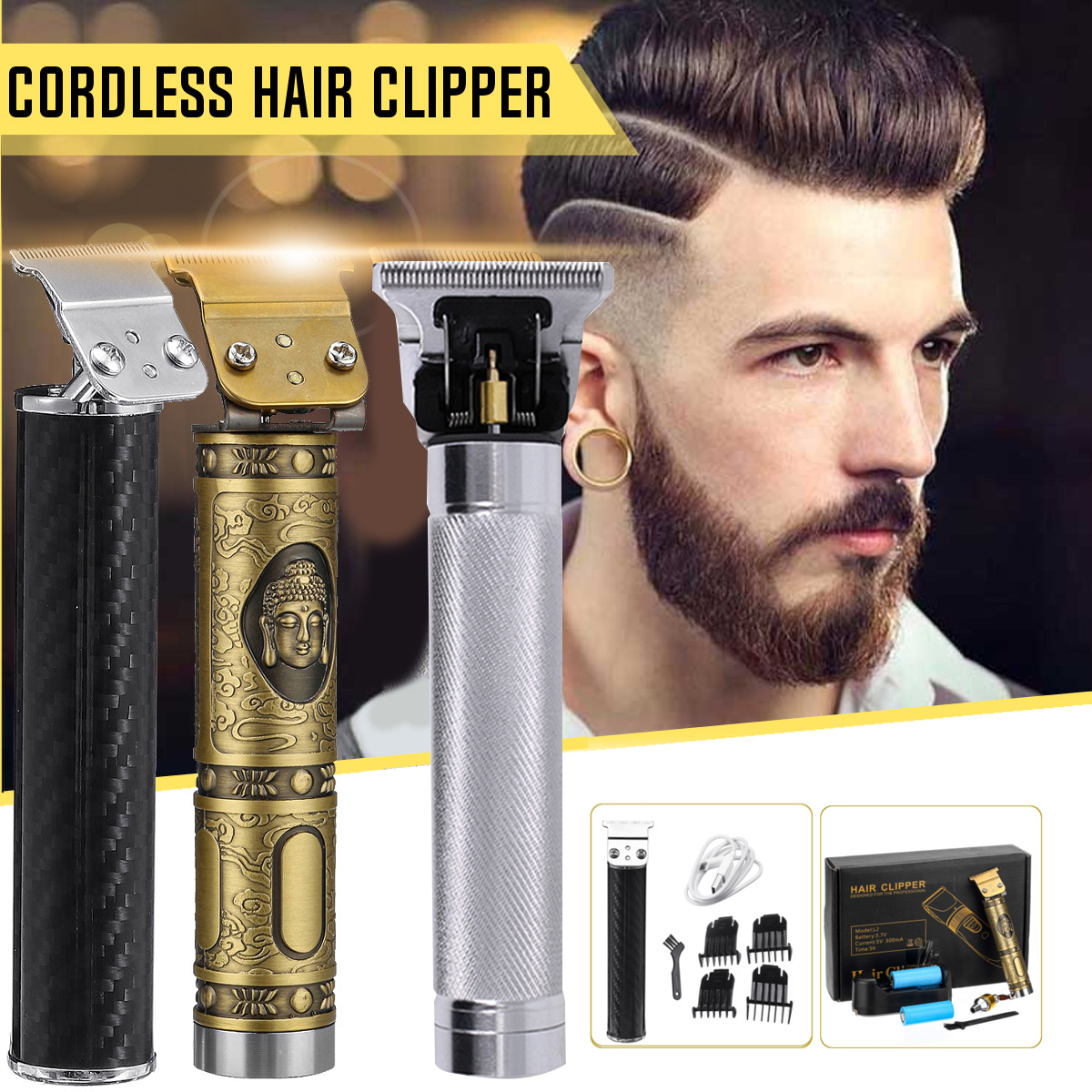US $11.11 11% OFFClose cutting Digital Hair Trimmer Rechargeable Electric  Hair Clipper barbershop Cordless 11mm t blade baldheaded outliner menHair