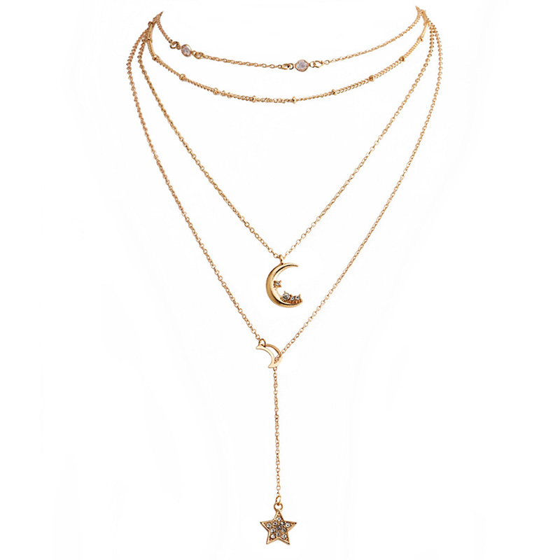 Fashion Gold Long Tassel Moon Ladies Necklace And Pendant Simple Y Crystal Bead Chain Long Pendant Necklace Club Party Jewelry in Pendant Necklaces from Jewelry Accessories