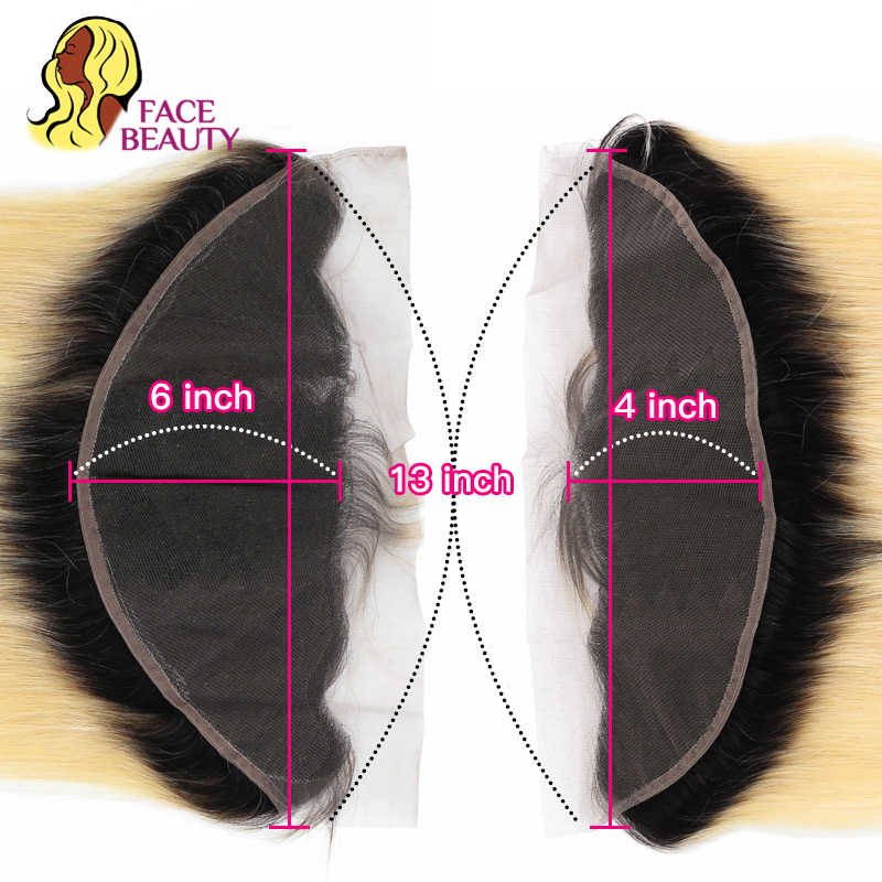 Facebeauty 1B/613 Ombre Blonde Color Peruvian Body Wave 2/3/4 Human Remy hair Extension Bundles With 13x6 Lace Frontal Closure