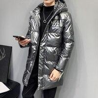 Slim Puffy Trench Winter Padding Thermal Hooded Fashion Streetwear Vintage Men Thicken Warm Parkas Casual Anorak Jacket KK60MF