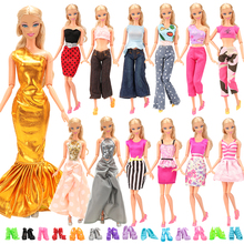 Fashion  Handmade 20 Doll Items/lot =10 Clothes For Barbie + 10 Doll Shoes Things For Barbie Game Best DIY Gift Toys For Girl