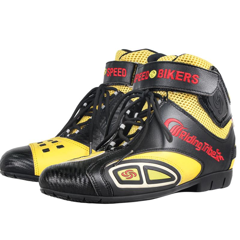 Bottes de moto en cuir microfibre respirant anti dérapant Anti collision équitation chaussures de protection Design de mode coloré A016