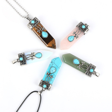 цена на Unisex Men Women Natural Gem Stone Quartz  Pendants Suspension Necklace Bullet Hexagonal Pendulum Reiki Chakra pendulo