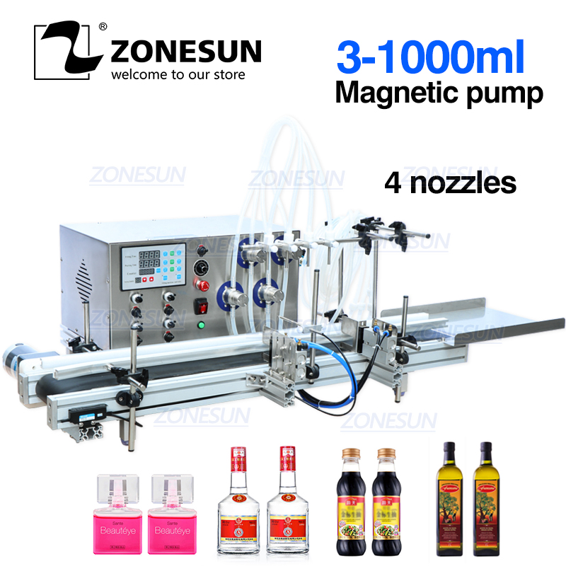 ZONESUN 4 Nozzles Magnetic Pump Automatic Desktop CNC Liquid Water Filler With Conveyor 110V-220V For Perfume Filling Machine