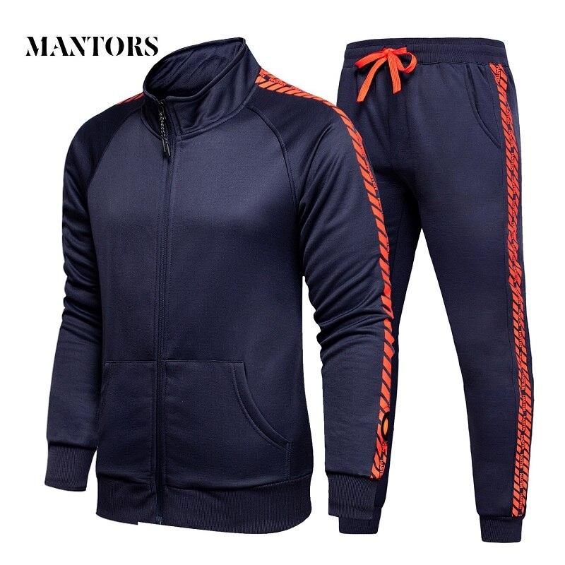 2019 New Trend Men Casual Sets Autumn Men's Sportswear Tracksuit Zipper Print Jacket + Pants 2PC Set Male Slim Fit Sporting Suit