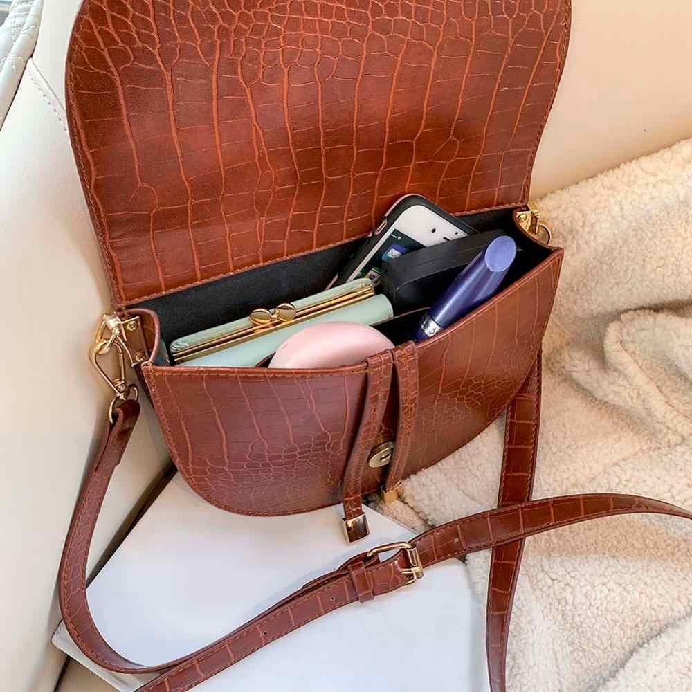 Mewah Buaya Pola Tas Selempang untuk Wanita 2020 Setengah Messenger Tas PU Kulit Tas Tangan Tas Bahu Sac Utama Femme