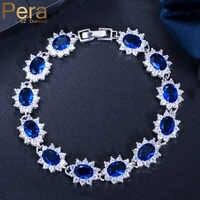 Pera Vintage Royal bijoux en argent Sterling 925 ovale bleu zircon cubique lien et chaîne Bracelet pour femmes cadeau de noël B014