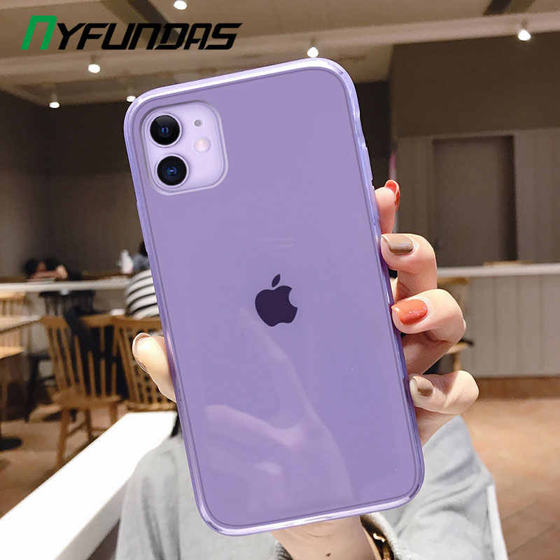 Clear Case For Apple Iphone 11 Pro Max X Xr Xs 8 Plus 7 6 6s Se 2 2020 Iphone11 Iphonex Silicone Phone Cover Purple Accessories Phone Case Covers Aliexpress