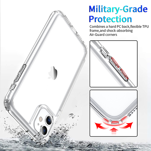 Shockproof Luxury Clear Transparent Silicone Phone Case For iphone 5 5S SE 6 6S 7 8 X XS 11 Pro MAX XR Plus 2020 Protection Case 2
