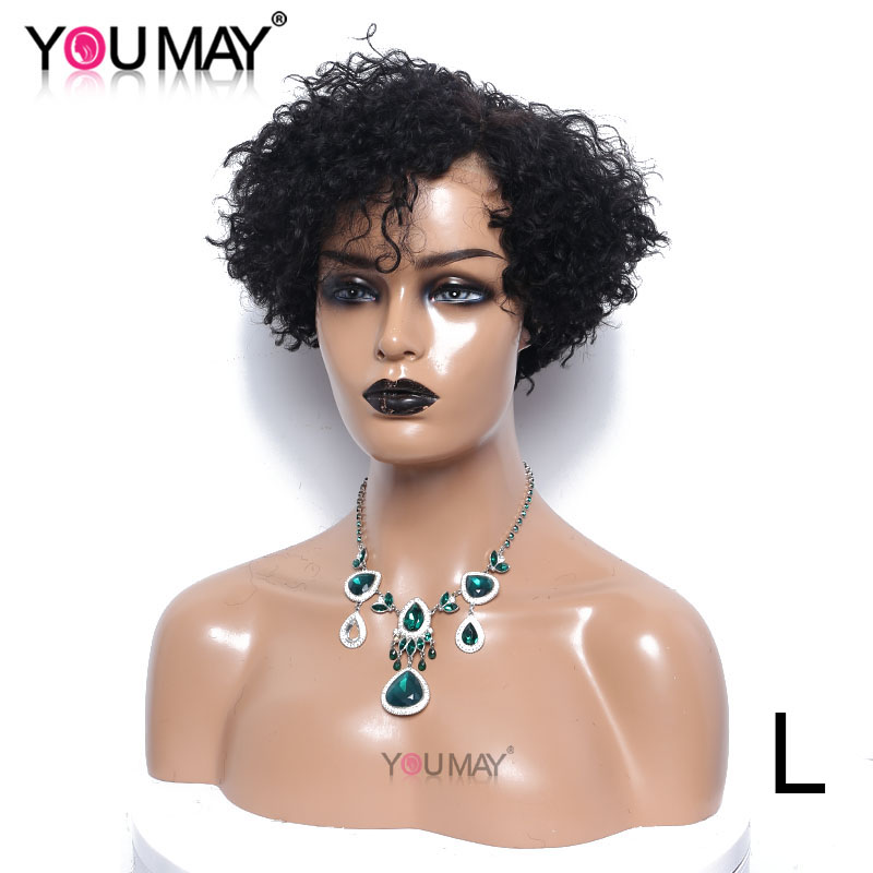 Short Curly Lace Wigs For Women 150% Density 4X4 Human Hair Lace Closure Wigs Color 1B You May Remy Brazilian Hair Short Bob Wig