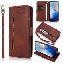 Откидной кожаный чехол бумажник на молнии для Samsung S20 Ultral Note 20 Ultra 10 + 9 8 A70 A50 A40 S10 S8 S9 Plus S7 Edge