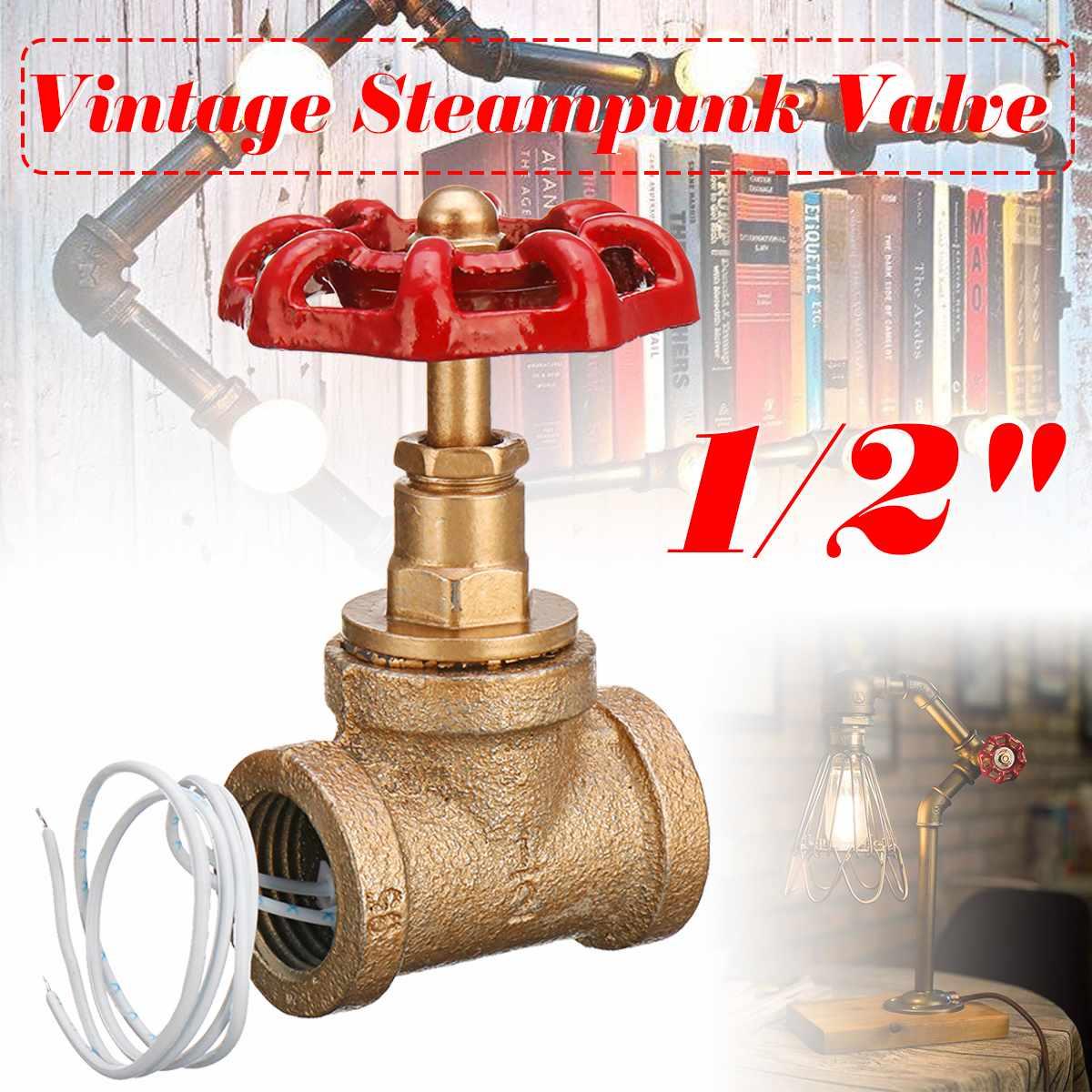 Işıklar ve Aydınlatma'ten Sıra Lambaları'de Vintage Steampunk 1/2 inç kırmızı kolu Stop ışık anahtarı için tel ile su borusu lamba title=