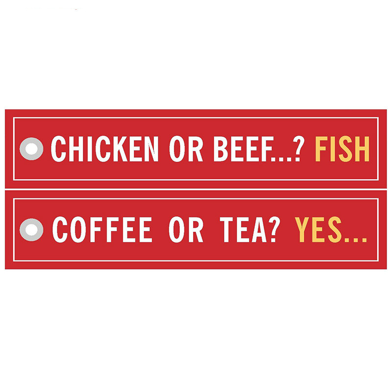 Coffee or Tea YES Keychains for Cars sleutelhanger Chicken or Beef Fish Key Ring Bijoux llavero moto Porte Clef Aviation Gift