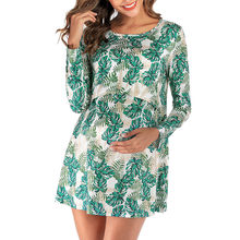 Womens Pregnant O-Neck Print Long Sleeve Lactation Maternity Short Dress Pregnancy Flattering Dresses Mama Clothes vestidos(China)