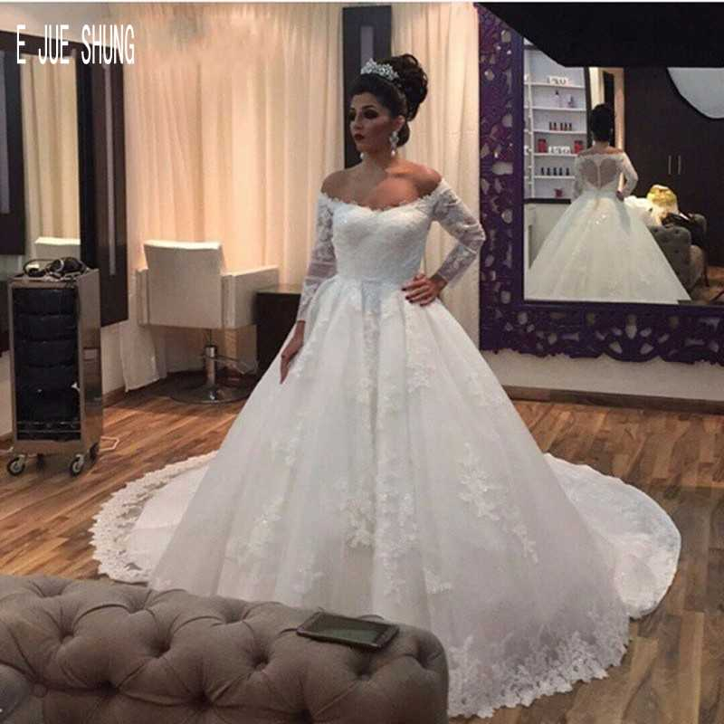 E JUE SHUNG Vestido De Noiva Sexy Ball Gown Wedding Dresses Off  The Shoulder Long Sleeves Button Back Appliques Bridal Dresses