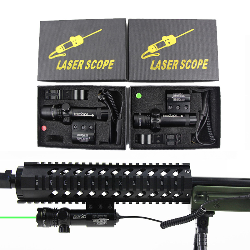 Tactical Outside Red Dot Green Laser Sight Mount For M4A1 AR 15 Ak47 74 Hk 416 Airsoft Rifle Laser Adjustable Switch Rifle Scope