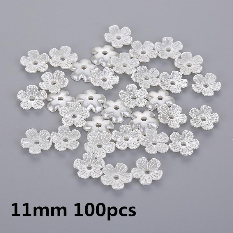 100 Pcs Ivory Flower Plastic Pearl Beads Embellishment Scrapbooking Craft DIY