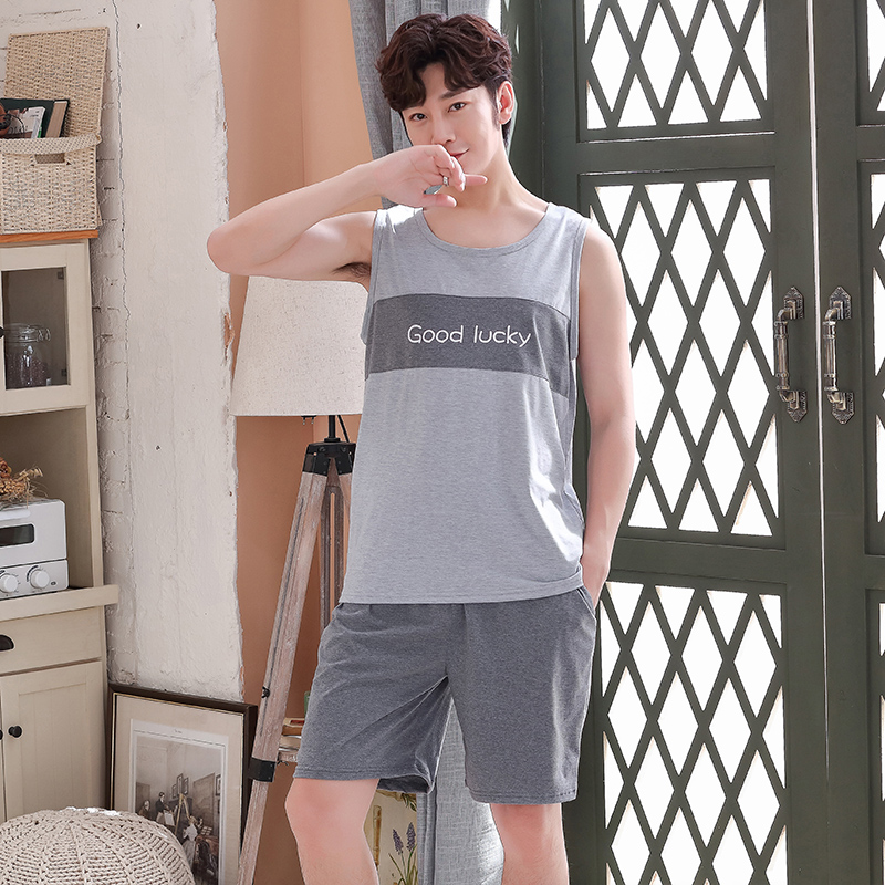 2020 Casual Sleepwear Lounge Vest Mens Full Pure Cotton Men Pajamas Pajamas Suit Sleeveless Tank Shorts Soft Big Size Pyjama Set