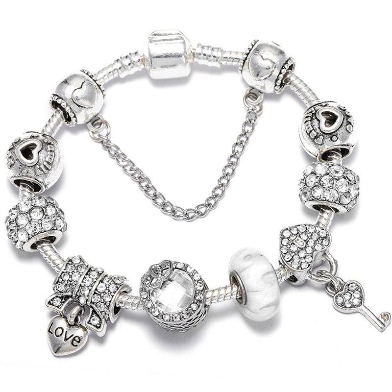 BAOPON Прямая поставка винтажные Подвески серебряного цвета браслеты для женщин DIY Кристальные бусины изящные браслеты для женщин Pulseira ювелирные изделия - Окраска металла: Type 27
