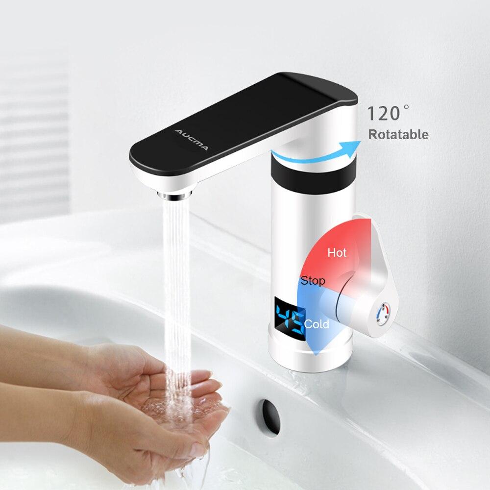 3000W Instan tWater chauffage électrique robinet sans réservoir rapide chauffage robinet de cuisine avec affichage de la température chaud froid double usage - 3
