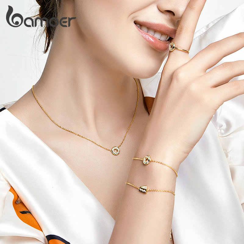 Bamoer słodkie ciasto pączki okrągły łańcuch Link bransoletki kobiet koreański styl moda 925 Sterling srebrny złoty kolor biżuteria BSB028