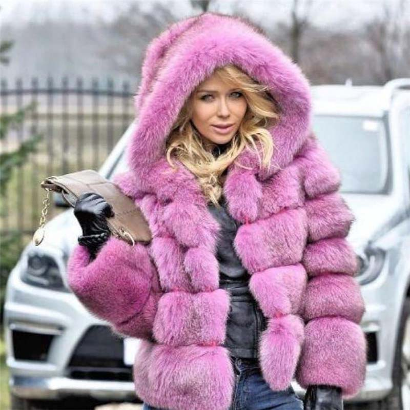 Rebicoo Fake Fur Warm Thick Fox Fur Coat For Women Fashion Full Pet With Striped Cut Plus Size Overcoats Warm Winter Jacket
