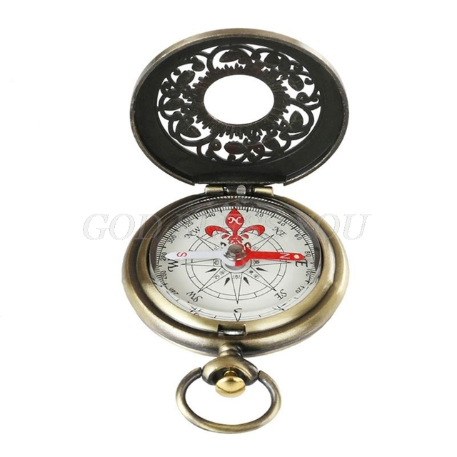 Vintage Bronze Compass Pocket Watch Design Outdoor Hiking Navigation Kid Gift Retro Metal Portable Compass Drop Shipping 3