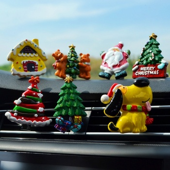 Car Air Freshener Outlet Clip Perfume Ornament Santa Claus Dog Decorations Christmas Tree Perfume Clip for New Year 2020 image