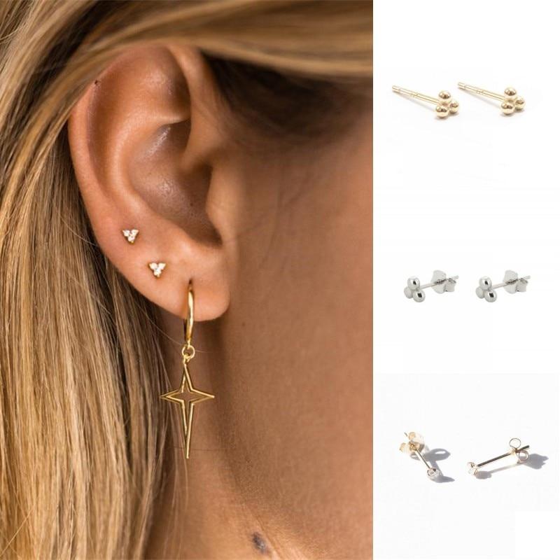 ROXI Minimalist 925 Sterling Silver Three Ball Stud Earrings Delicate Tiny Dot Small Earrings Cartilage Helix Piercing Earrings
