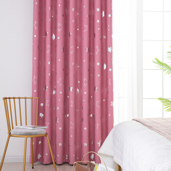 Window Curtain Moon Star Printed Curtain Drapes Living Room Bedroom Curtain Eyelets Drapes Kid's Bedroom Window Curtain D30