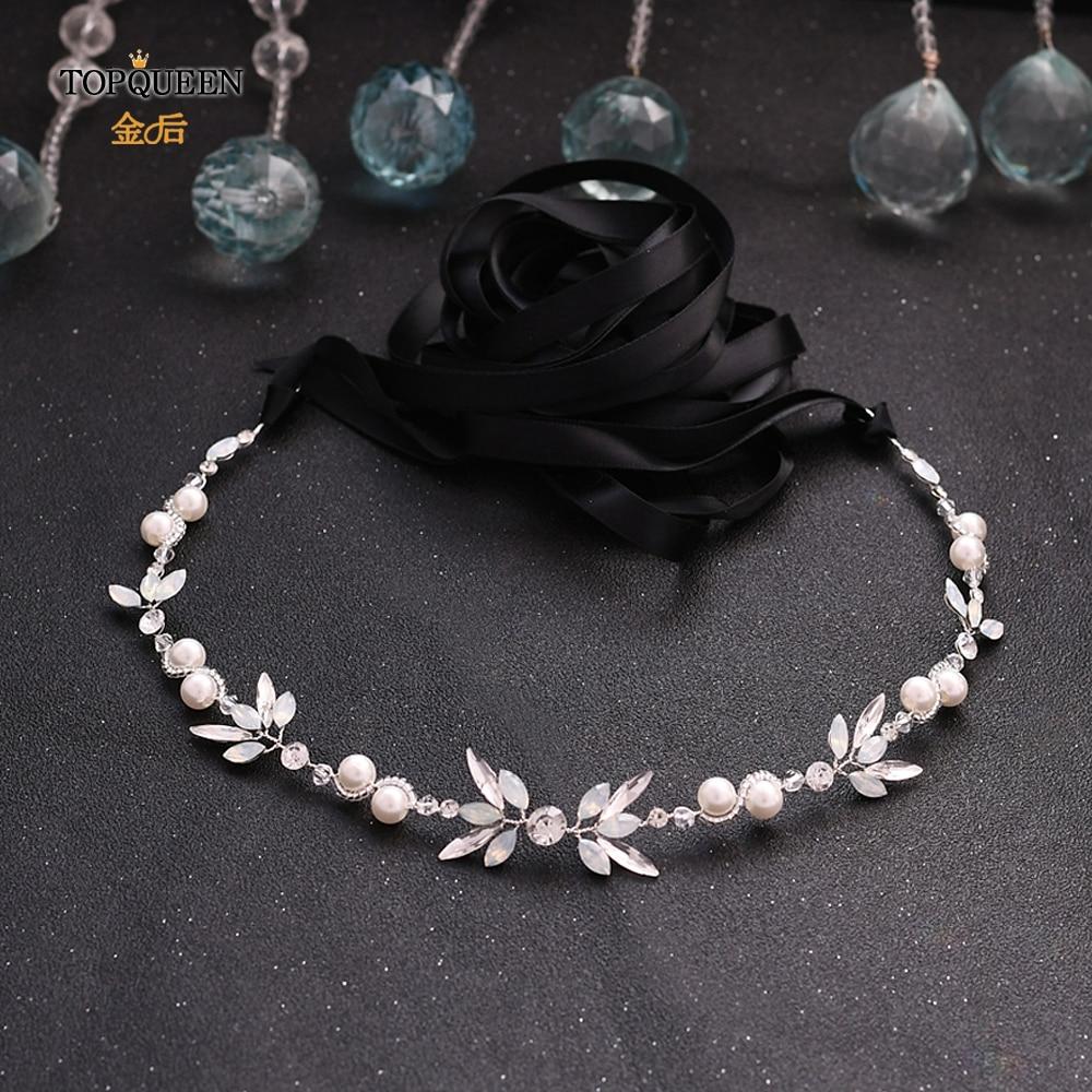 TOPQUEEN HP132 Opal Diamond Bridal Headpiece Silver Rhinestone Headband Bridal Hair Tiara Bridal Hair Piece Hair Jewelry