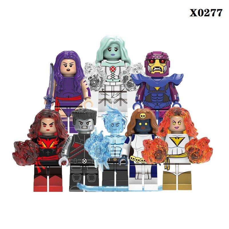 Single Sale Super Heroes Psyloke Iceman White Queen Mystique Colossus Sentinel Building Blocks Figures For Children Toys X0277