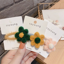Korean Solid Mohair Flower Cute Fall Winter Kids Children Girls BB Hairpins Hair clips Head wear Accessories-SWD-W5