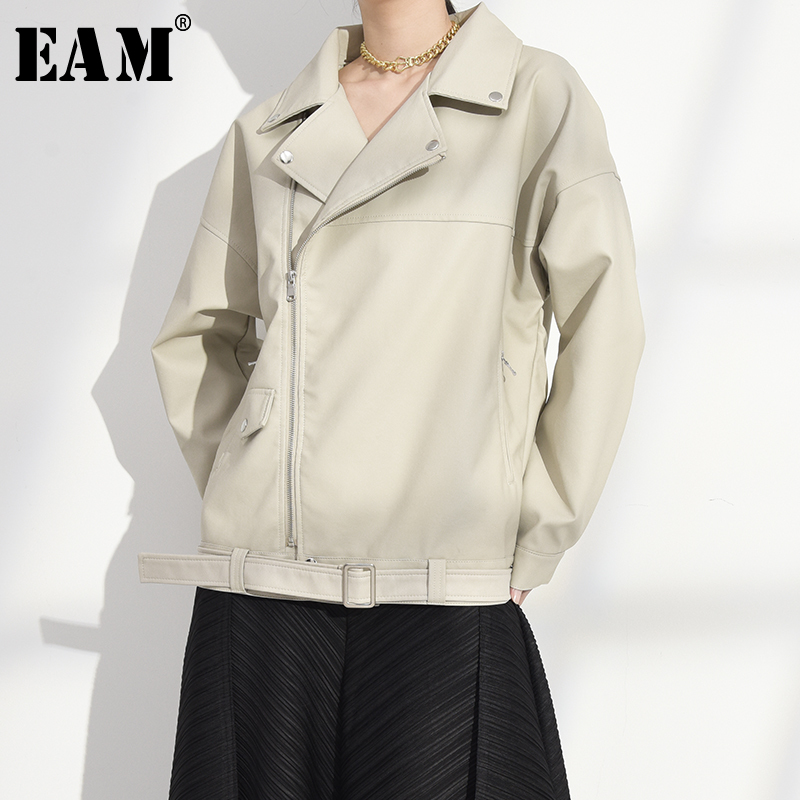 [EAM] Loose Fit Beige Pu Leather Split Big Size Jacket New Lapel Long Sleeve Women Coat Fashion Tide Spring Autumn 2020 LA93804 1