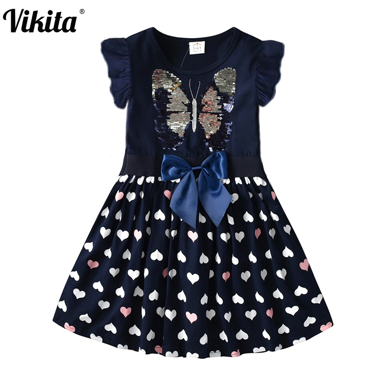 VIKITA Kids Princess Dresses For Girls Children Sequined Dress Girls Butterfly Dresses Toddlers Kids Cotton Casual Vestidos
