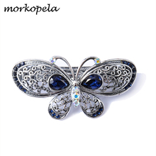 Morkopela Vintage Butterfly Hair Clip Crystal Jewelry Banquet Women Hairpin Clips Barrettes Metal Accessories