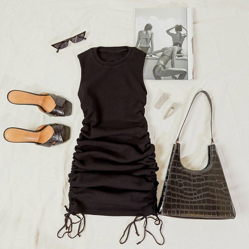 Cotton Ruched Drawstring Sexy Party Dress Women Sleeveless Elastic Mini Dress Vintage Summer Bodycon Club Wear Vestidos - dresses