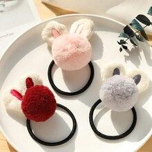 Girl hair accessories rabbit ears ball scrunchies elastic rubber band kids baby cute animal princess headdress