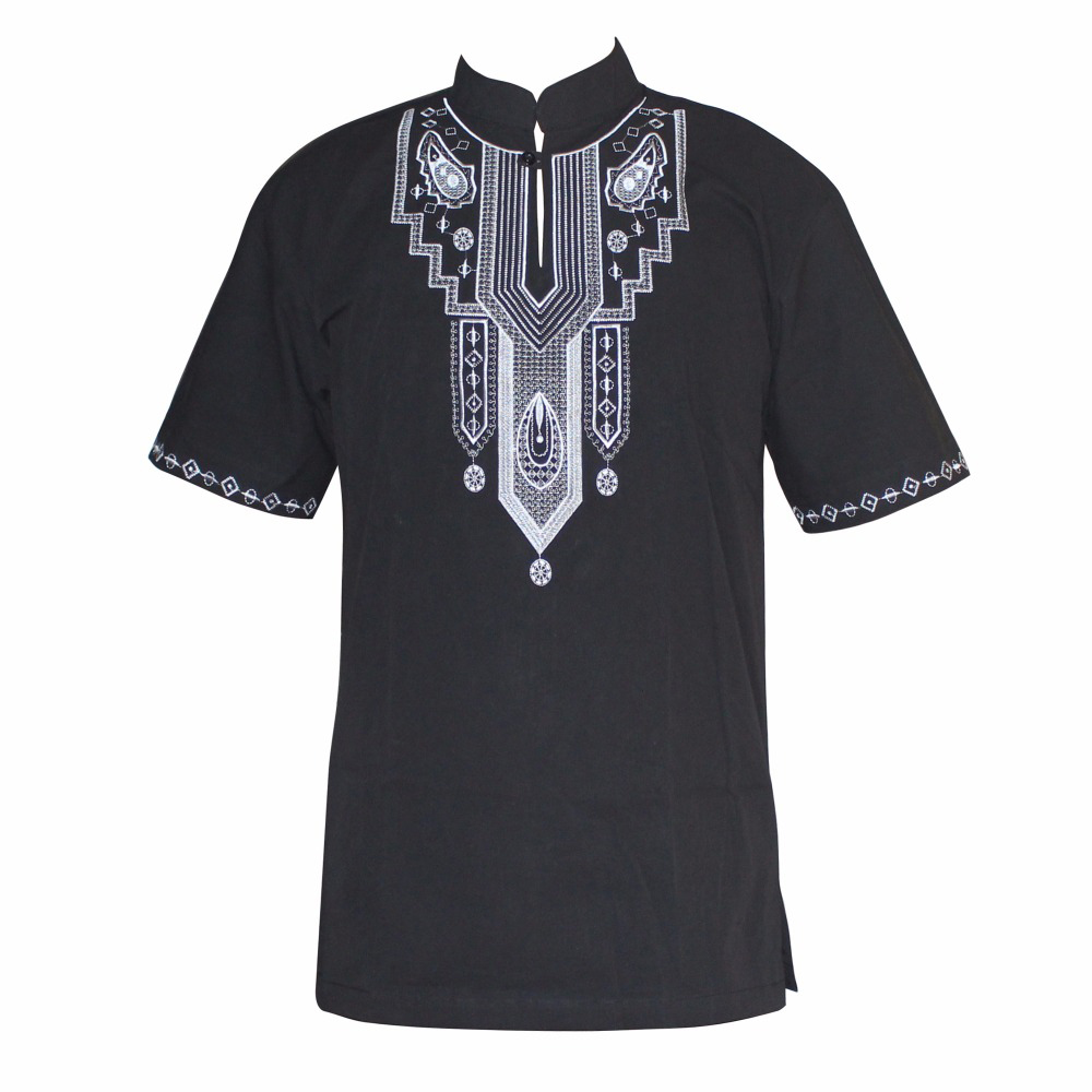 Embroidery Slim Hippie Dashiki Muslim T-Shirts Short Sleeve Ankara Design Traditional African Clothing Wholesale рубашка мужская