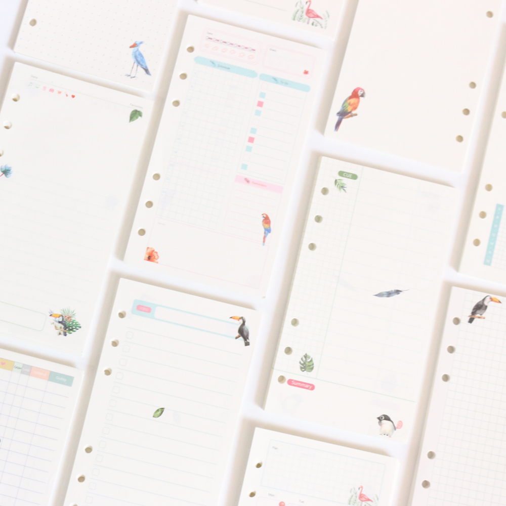 Cute Cartoon Creative Animals Design 6 Holes Inner Refilling Papers Core For Spiral Binder Planner Notebooks,12 Kinds,A5 A6