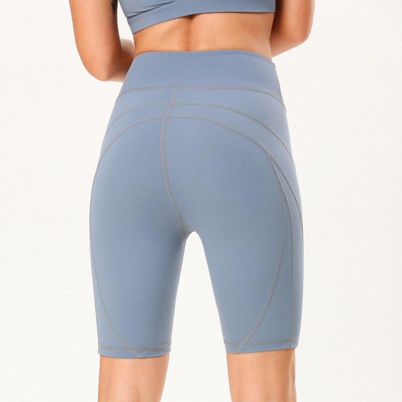 Women Gym Shorts High Elasticity Workout Yoga Training High Waist Half Leggings G66
