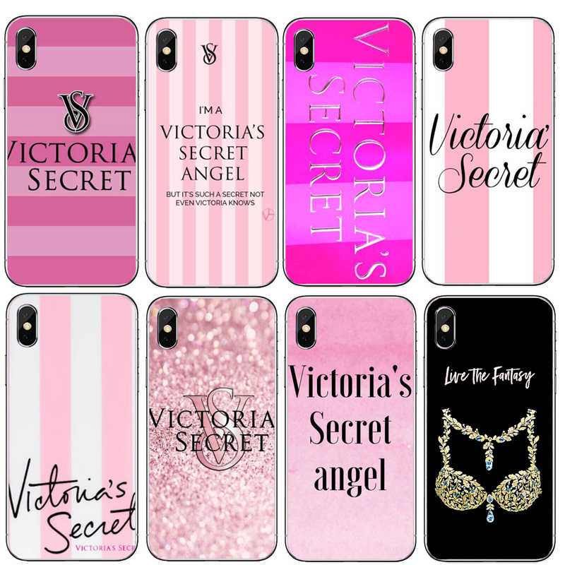 Hot fashion pink Color Victoria secret case Soft Silicone TPU  Case  For iPhone X 8 7 6 6S Plus 5S SE XS Max