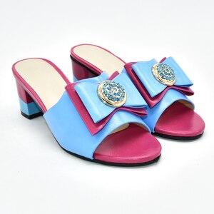 Image 2 - جديد فوشيا اللون أحذية الزفاف للنساء رائجة البيع النمط الإيطالي أحذية خفيفة المرأة الأفريقية النعال صنادل سيدات بكعب