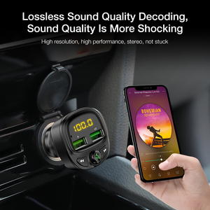 Image 2 - FLOVEME 3.4A Fast Car Charger Fm Transmitter Bluetooth Dual USB Mobile Car Phone Charger Fast Charging MP3 TF Card Music Car Kit