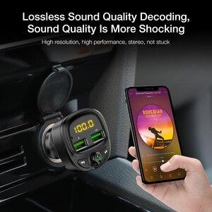 Image 2 - FLOVEME 3.4A شاحن سيارة سريع Fm الارسال بلوتوث المزدوج USB شاحن هاتف السيارة المحمول شحن سريع MP3 TF بطاقة الموسيقى سيارة عدة