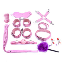 10pcs lots erotic Bondage Restraints Sets sex toys for couples Leather Handcuffs Mouth Gag Spanking Whip Nipple Clamps SM Game