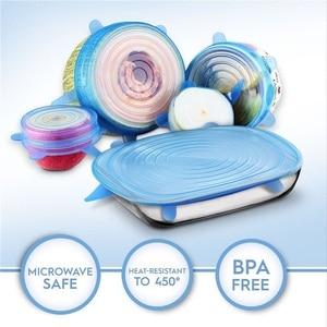 6 шт силиконовые крышки многоразовая силиконовая крышка для еды, Стрейчевые крышки, универсальная пищевая пленка, крышка для еды, силиконовая крышка для сохранения свежести, растягивающаяся Волшебная крышка